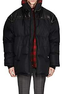 Balenciaga Men's Ripstop & Leather Oversized Puffer Coat - Black