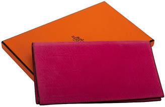 One Kings Lane Vintage HermAs Hot Pink Suede Checkbook Cover - Vintage Lux