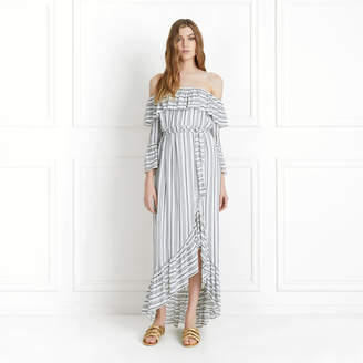 Rachel Zoe Viola Off-The-Shoulder Dobby Stripe Maxi Dress
