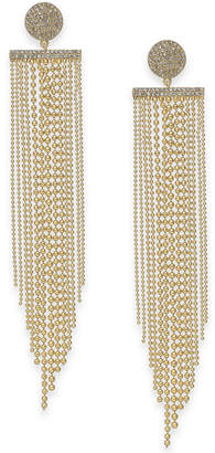 Kate Spade Gold-Tone Pave Disc & Ball Chain Fringe Chandelier Earrings