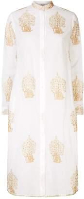 Juliet Dunn Elephant Embroidered Beach Shirt