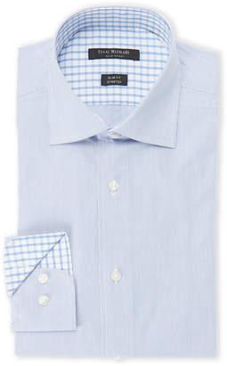 Isaac Mizrahi Blue Fine Rope Striped Slim Fit Stretch Dress Shirt