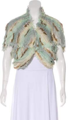 Fendi Fur-Trimmed Pleated Cardigan