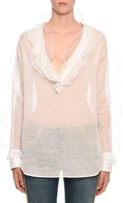 Ermanno Scervino Long-Sleeve Ruffled Sheer Cotton Blouse