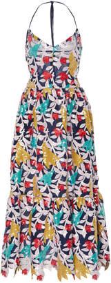 Prabal Gurung Halter Sequin Lace Midi Dress