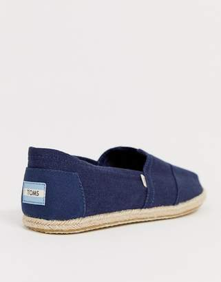 5c55b3184e6 Toms espadrilles in navy linen with rope detail