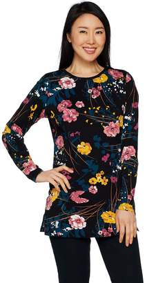 Denim & Co. Floral Print Perfect Jersey Round Neck Long Sleeve Tunic