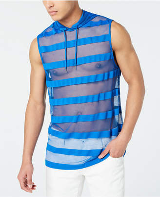 INC International Concepts Inc Men Hooded Striped Mesh Tank