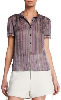Rag & Bone Austin Striped Short-Sleeve Silk Top