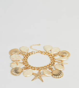 Asos DESIGN Curve exclusive bracelet with shell and pearl charms in gold