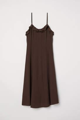 H&M Sleeveless Ruffle-trim Dress - Brown