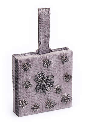 Sanayi313 Ragno Velvet Box Clutch Bag