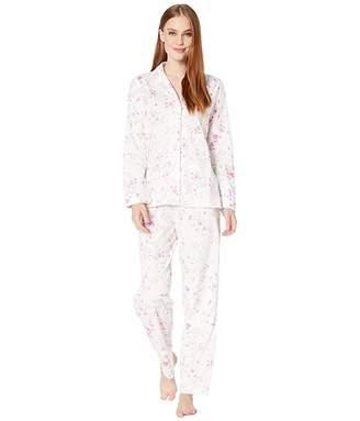 Lauren Ralph Lauren Cotton Jersey Knit Long Sleeve Notch Collar Long Pants PJ Set