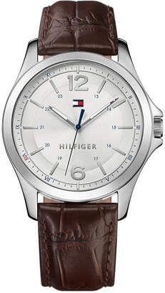 Tommy Hilfiger Men's Essential Brown Leather Strap Watch 42mm 1791377, Created for Macy's
