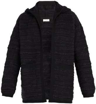 Saint Laurent Boucle Wool Blend Hooded Cardigan - Mens - Black