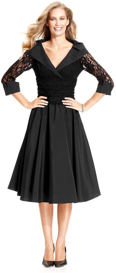 Jessica Howard Dress, Three-Quarter-Sleeve Lace Portrait-Collar