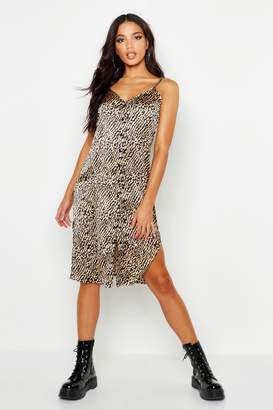 boohoo Button Through Satin Animal Cami Dress