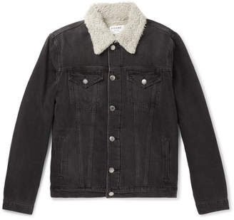 Frame L'homme Faux Shearling-Lined Denim Jacket