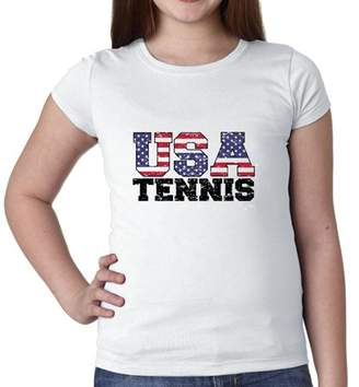Hollywood Thread USA Olympics - Tennis - Vintage Letters Girl's Cotton Youth T-Shirt