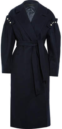 Mother of Pearl Webb Faux Pearl-embellished Wool-blend Coat - Navy