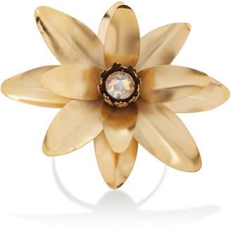 Rodarte Gold Lotus Flower Arm Cuff with Swarovski Crystal Detail