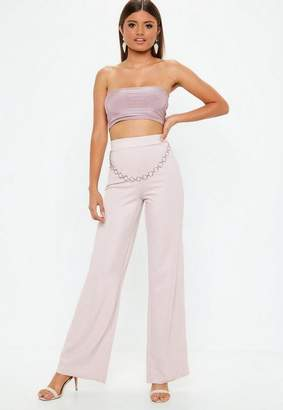 Missguided Pink Chain Belt Metallic Flares