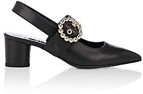 Helena & Kristie Women's Buckle-Strap Leather Slingback Pumps - Black