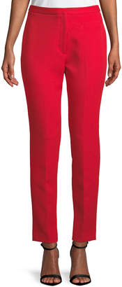 Milly Stretch Crepe Cigarette Pants, Ruby Red