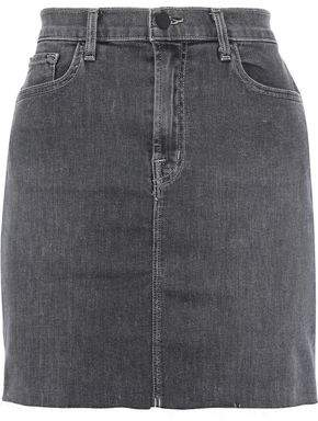 J Brand Lyla Frayed Faded Denim Mini Skirt