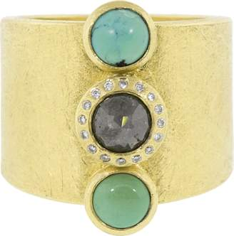 Todd Reed Rose Cut Black Diamond And Cabachon Turquoise Ring