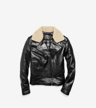 Cole Haan Leather Moto Jacket with Shearling Collar