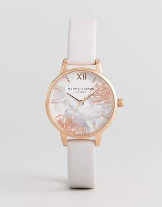 Olivia Burton OB16VM12 Abstract Floral Midi Leather Watch In Blush