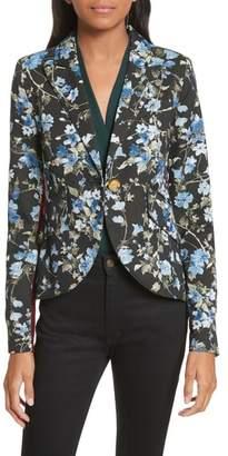 Smythe Tuxedo Stripe Floral Jacquard Blazer