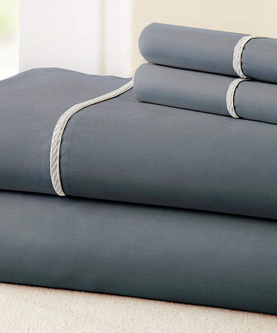 Charcoal & White Rope Hem 400-Thread Count Cotton Sheet Set