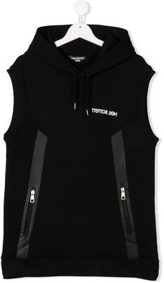 Neil Barrett Kids TEEN sleeveless logo hoodie