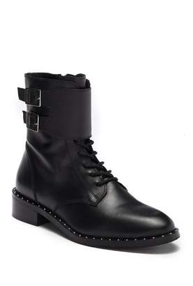 Catherine Malandrino Plain Studded Buckle Strap Combat Boot