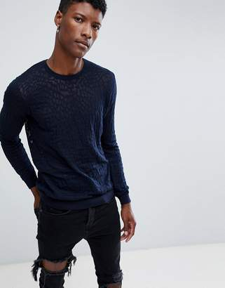 Asos DESIGN knitted sweater with burnout design in navy