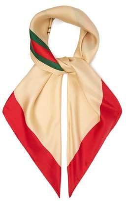 Gucci Logo Print Silk Scarf - Womens - Red