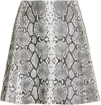 Veda Leather Snake Print Mini Skirt