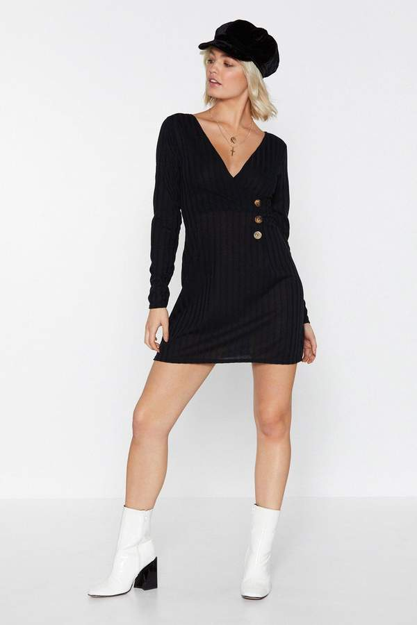 Love Button the Brain Ribbed Dress