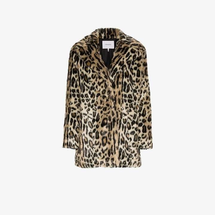 Denim Cheetah print faux fur coat