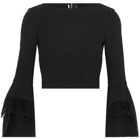 Roland Mouret Cropped Lattice-Trimmed Wool-Crepe Top