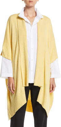 eskandar Ribbed Shawl-Collar Open-Front Tabard Cardigan