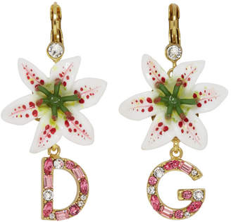 Dolce & Gabbana White Crystal Lily Logo Earrings