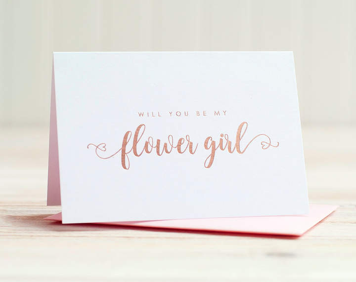 Etsy Will You Be My Flower Girl Card Rose Gold Foil ask flower girl proposal gift box wedding party card