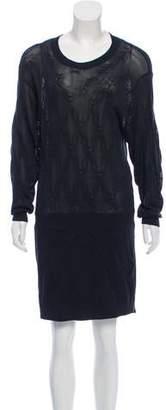 Theyskens' Theory Silk-Blend Mesh Sweater Dress