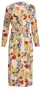 Rachel Comey Women's Cactus Flower Silk Sunder Belted Sheath Dress - Size 12