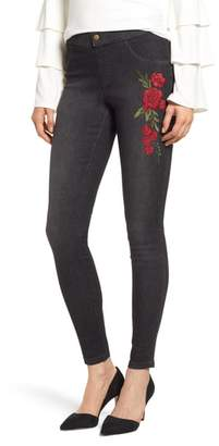 ZEZA B BY HUE Rose Embroidered Denim Leggings