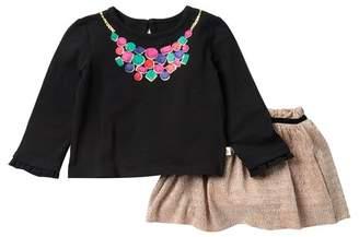 Kate Spade Metallic Knit Skirt & Jewel Printed Top Set (Baby Girls)