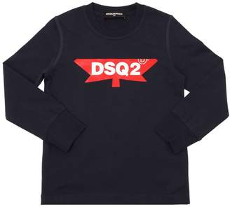 DSQUARED2 Logo Print Cotton Jersey T-Shirt